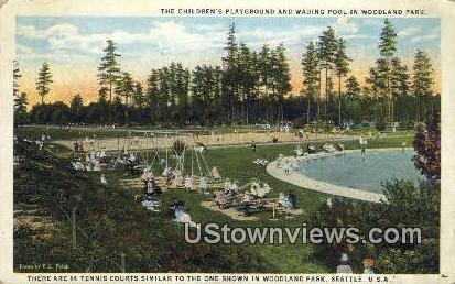 Children's Playground, Woodland Parrk - Seattle, Washington WA Postcard