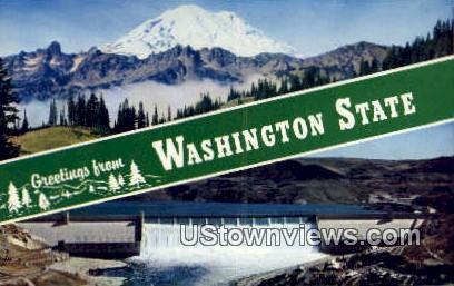 Mt Rainier - Grand Coulee Dam, Washington WA Postcard