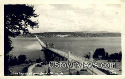 Real Photo - Lake Washington Floating Bridge - Seattle Postcard