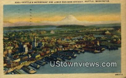 Waterfront, Lower Business District - Seattle, Washington WA Postcard