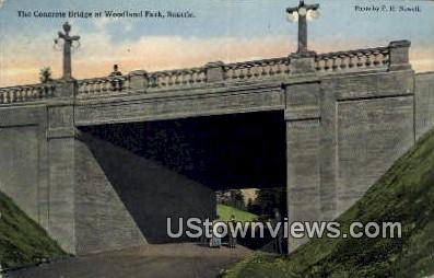 Concrete Bridge, Woodland Park - Seattle, Washington WA Postcard