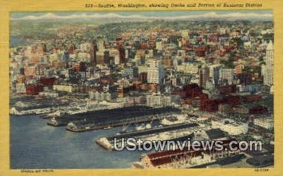 Docks, Business District - Seattle, Washington WA Postcard