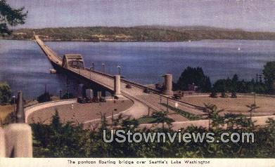 Pontoon Floating Bridge, Lake Washington - Seattle Postcard