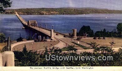 Pontoon Bridge, Lake Washington - Seattle Postcard