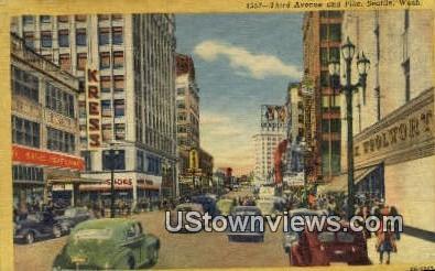 Third Ave - Seattle, Washington WA Postcard