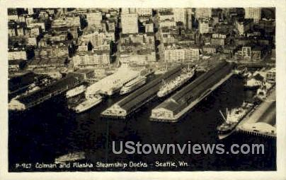 Real Photo - Colman & Alaska Docks - Seattle, Washington WA Postcard