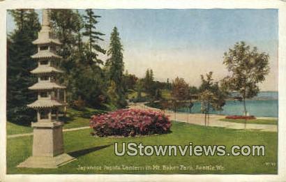 Japanese Pagoda Lathern in Mt Baker Park - Seattle, Washington WA Postcard
