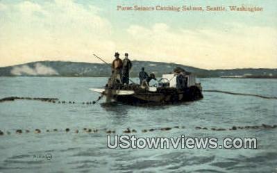 Purse Seinors Catching Salmon - Seattle, Washington WA Postcard