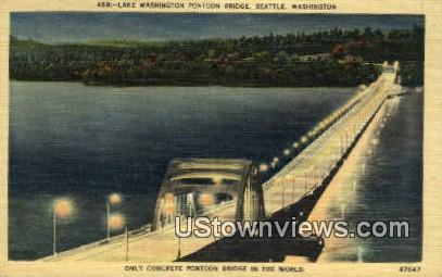 Lake Washington, Pontoon Bridge - Seattle Postcard