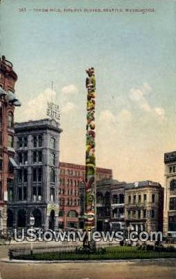 Totem Pole, Pioneer Square - Seattle, Washington WA Postcard