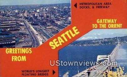 Metro Area Docks & Freeway - Seattle, Washington WA Postcard