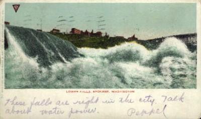 Lower Falls - Spokane, Washington WA Postcard