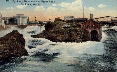 Spokane River & Upper Falls - Washington WA Postcard