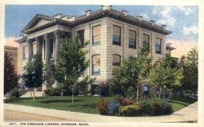 The Carnegie Library - Spokane, Washington WA Postcard