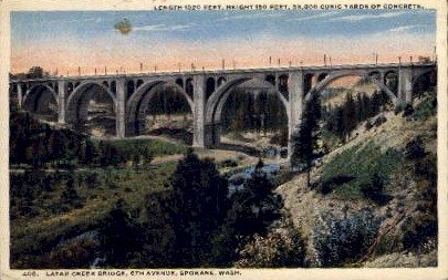 Latah Creek Bridge - Spokane, Washington WA Postcard