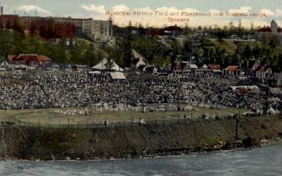Municipal Athletic Field and Playground - Spokane, Washington WA Postcard