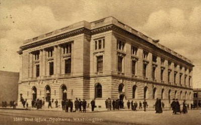 Post Office - Spokane, Washington WA Postcard