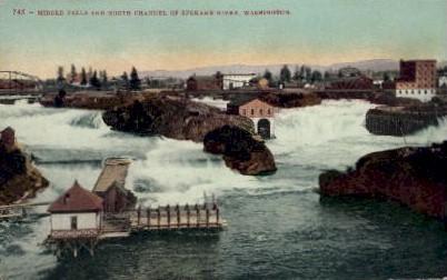 Middle Falls - Spokane, Washington WA Postcard