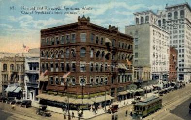 Howard & Riverside  - Spokane, Washington WA Postcard