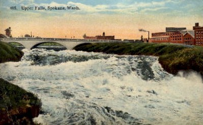 Upper Falls - Spokane, Washington WA Postcard