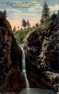 Falls in Indian Canyon - Spokane, Washington WA Postcard