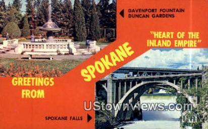 Davenport Fountain Duncan Gardens - Spokane, Washington WA Postcard