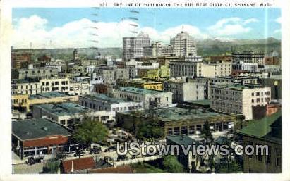 Business District - Spokane, Washington WA Postcard