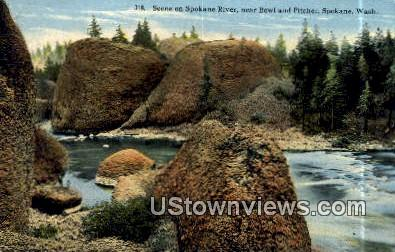 Spokane River - Washington WA Postcard