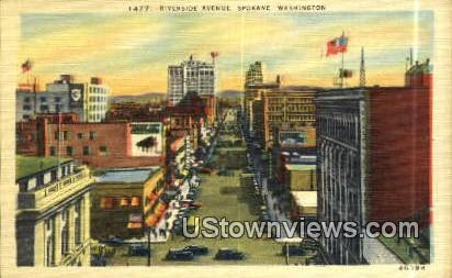 Riverside Ave - Spokane, Washington WA Postcard