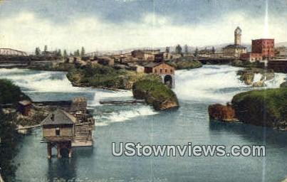 Middle Falls, Spokane River - Washington WA Postcard