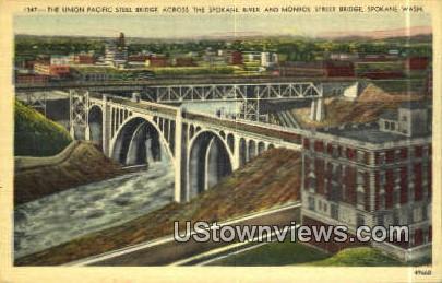 Union Pacific Steel Bridge - Spokane, Washington WA Postcard