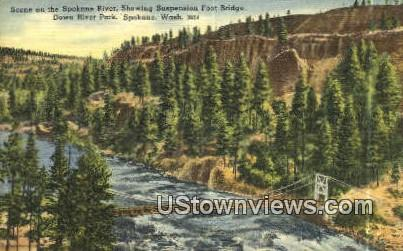 Spokane River, Suspension Foot Bridge - Washington WA Postcard