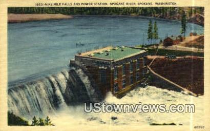 Nine Mile Falls & Power Station - Spokane, Washington WA Postcard