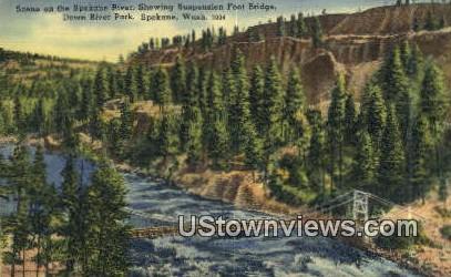 Spokane River, Suspension Foot Bridge - Washington WA Postcard