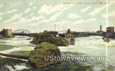 Upper or Twin Falls - Spokane, Washington WA Postcard