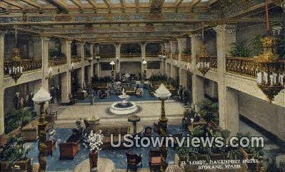 Lobby, Davenport Hotel - Spokane, Washington WA Postcard
