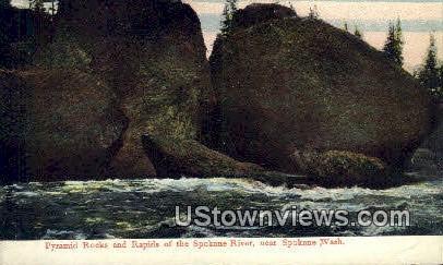 Pyramid Rocks, Spokane River - Washington WA Postcard