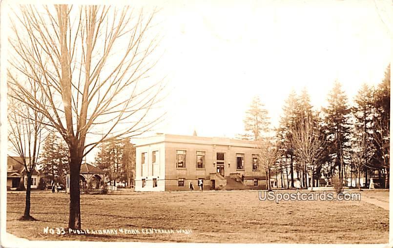 Public Library & Park City - Tralia, Washington WA Postcard