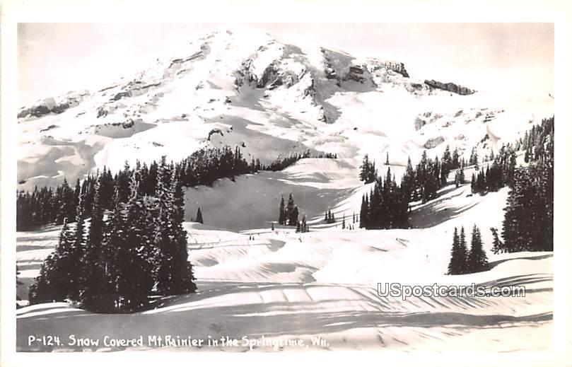 Snow Covered Mount Rainier - Tacoma, Washington WA Postcard