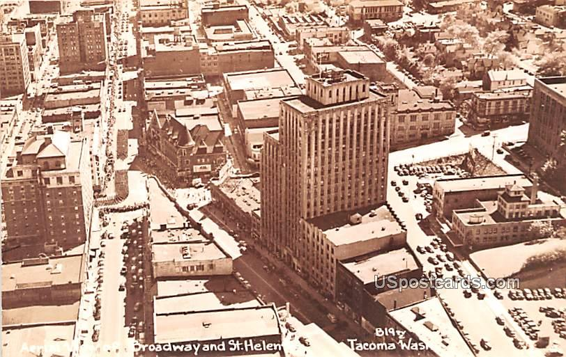Broadway and St Helens - Tacoma, Washington WA Postcard