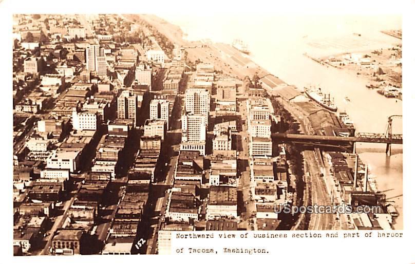 Northward View of Business Section and Part of Harbor - Tacoma, Washington WA Postcard