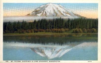 Mt. Tacoma mirrored in Lake Spanaway - Washington WA Postcard
