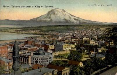 Mount Tacoma & City - Washington WA Postcard