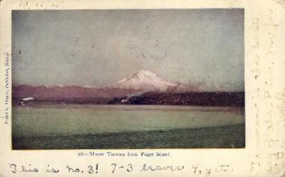 Mount Tacoma from Puget Sound - Washington WA Postcard