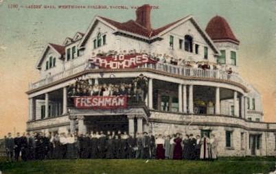 Ladies' Hall, Whitworth College - Tacoma, Washington WA Postcard