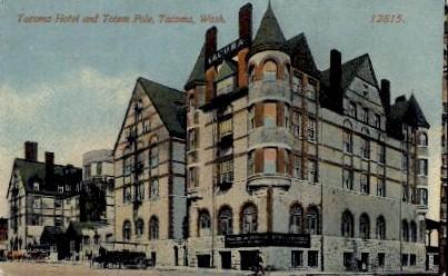 Tacoma Hotel & Totem Pole - Washington WA Postcard