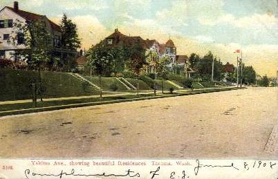 Yakima Avenue - Tacoma, Washington WA Postcard