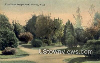 Five Paths, Wright Park - Tacoma, Washington WA Postcard