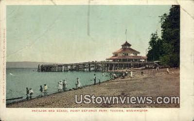 Pavilion & Beach, Point Defiance Park - Tacoma, Washington WA Postcard
