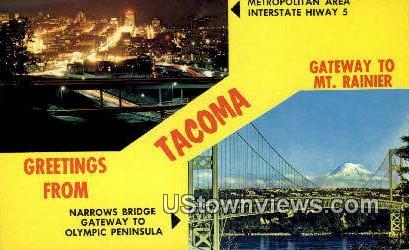 Metro Area Interstate, Narrows Bridge - Tacoma, Washington WA Postcard